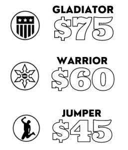 Gladiator $75, Warrior $60, Jumper $45